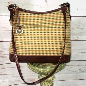 Brighton Vintage Woven Canvas and Leather Bag
